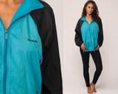 Reebok Windbreaker Jacket 90s Streetwear Jacket Shell Jacket Sports Hipster Vintage 80s Color Block Black Blue Raglan Medium