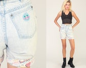 Denim Shorts LA GEAR Shorts Acid Wash 90s High Waisted Jean Shorts 80s Vintage Cuffed Graffiti Print Blue Retro Extra Small xs 0