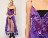 Purple Nightgown Lingerie LACE Slip Dress RUFFLE 80s Maxi Boho Vintage High Low 1980s Bohemian Deep V Neck Small Medium