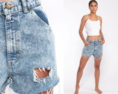 Acid Wash Denim Shorts Ripped Short 80s High Waisted Cutoffs Jean Cut offs High Rise Waist 90s Vintage Frayed Blue Retro Extra Small xs 27
