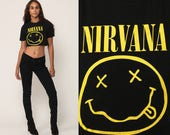 NIRVANA Shirt 90s Crop Top Rock Band Tshirt Tour Shirt CROPPED Tee Grunge Vintage 1990s Concert T Shirt Black Small Medium