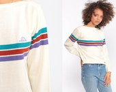 Jordache Sweater Off-White Pullover Sweater 80s Striped Knit Sweater Slouch Hipster Jumper Vintage Retro Boatneck Medium