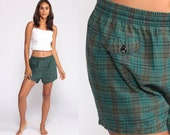Plaid Swim Trunks Shorts Green 80s Bathing Suit Swim Trunks High Waisted Shorts Print Vintage Small