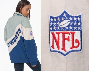 90s Dallas Cowboys Jacket NFL Football Jacket -- 1990s Jacket DALLAS TEXAS  Coat Sports Heavyweight Zip Up Color Block Oversized Large 13bf7701bf3