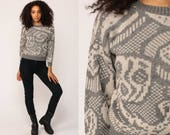 Grunge Sweater Geometric 80s Grey Print Knit Jumper 90s Hipster Statement Vintage Pullover Retro Gray White Medium