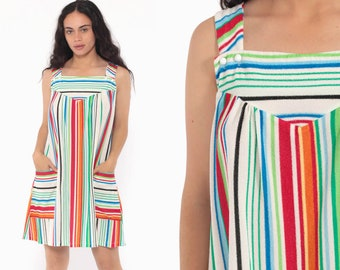 18627a9cfe497 Terry Cloth Lounge Dress 70s Rainbow STRIPED Mini TENT Tunic Hippie 1970s  Beach Cover Up Sundress Sun Vintage Sleeveless Boho Medium