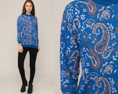 Paisley Sweater 70s Bohemian Graphic Print Slouchy 1970s Sweater Hippie Boho Pullover Vintage Hipster Retro Blue Small