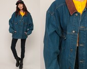 Marlboro Jean Jacket 80s Denim Jacket LEATHER COLLAR Jacket Grunge Oversized 90s Vintage Hipster Blue Brown Coat Retro Extra Large xl