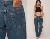 Mom Jeans LEVIS High Waist Levi Jeans 80s Jeans Denim Pants 550 Vintage 90s Blue Denim Hipster Large 30
