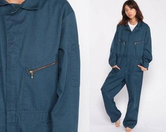 f85f78ef4b1 Coveralls Jumpsuit Pants Uniform Outfit 80s blue One Piece Long Sleeve  Onesie Vintage Pantsuit 1980s Medium Large
