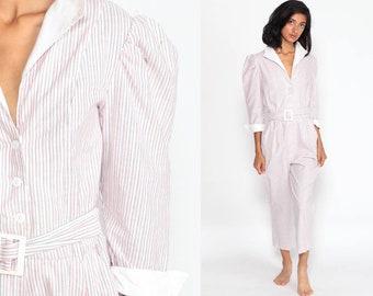 c261c01a99e 80s Jumpsuit Puff Sleeve Jumpsuit Pink Striped Jumpsuit Cotton Button Up  Onesie Pantsuit Vintage Romper Pants Extra Small xs
