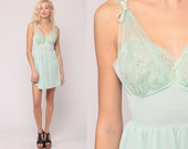 Pastel Lingerie Nightgown LACE Babydoll Slip Dress 70s Mint Green Nightgown Sheer Mini Pin Up Deep V Neck 1970s Vintage Pinup Small Medium