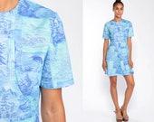 60s Mod Dress TREE PRINT Mod Mini 70s Hippie Boho BIRD Dress 1960s Vintage Blue High Waist Minidress Asian Inspired Medium Large