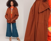 Brown Jacket 70s Jacket Retro Plain Zip Up Sports Normcore Hipster Collar Vintage 1970s Retro Large