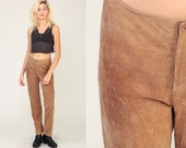 Suede Leather Pants 90s Pants High Waisted Tan Suede Pants Straight Leg Skinny Trouser Vintage Bohemian Festival Hipster Boho Small 6