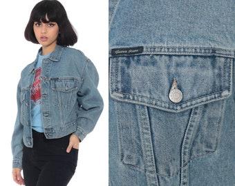 c2fc91e3f5a GUESS Jean Jacket USA 90s Denim Jacket Vintage Jacket Trucker Grunge Biker  Blue Button Up 1990s Coat Small