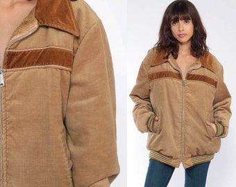 70s Winter Jacket Bomber Jacket Brown Coat VELVETY Tan Fuzzy Lining Retro  Ski Jacket Puffer Puffy 1970s Hipster Vintage Extra Large xl l f50617018