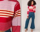 Turtleneck Shirt 80s Striped Long Sleeve Shirt Crop Top Retro Shirt Red Tee Nerd Geek Hipster Cropped High Neck Small Medium
