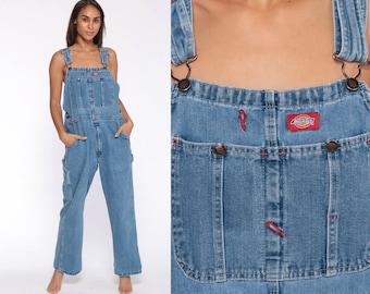 66d6122183 Dickies Overalls 90s Denim Bib Overalls Baggy Dungarees Long Jean Pants  Grunge Pants Suspender Hipster Carpenter Small Medium