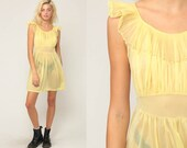 Babydoll Nightgown Yellow Lingerie Slip Dress 70s Mini Boho Sheer Nightgown FLUTTER SLEEVE Sexy Pajama Pinup Vintage Romantic Small Medium