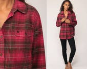 Carhartt Shirt Red Plaid Flannel Shirt 90s Grunge Lumberjack Cotton Oversize Long Sleeve Button Up Vintage Lumberjack Extra Large xl