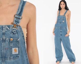 51382839e8 Carhartt Overalls Small Dungarees Bib Jean Overalls Denim Pants GRUNGE  Suspender Blue Pants Baggy Long Vintage Coveralls