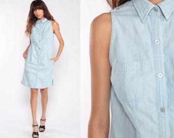 23c56c7bb2 90s Denim Dress Mini Jean Dress Lauren Ralph Lauren Grunge Vintage 1990s  Snap Button Up Sleeveless Light Blue Collar Shift Small
