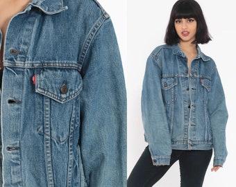 19a21d0f15986e Levi Jean Jacket 80s Distressed Denim Jacket Faded Levis Jacket 90s Blue  Vintage Oversized Biker Grunge Medium Large