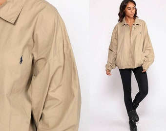 6b8b5c208f Khaki Jacket Ralph Lauren Jacket Polo Sport Jacket Cotton Retro Sports  Plain Tan Bomber Normcore Hipster 90s Preppy Extra Large xl 2xl