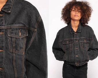 1001fbde66007 Black Jean Jacket GAP Jean Jacket 80s Denim Jacket Vintage Biker 90s Grunge  Faded Oversized Hipster Trucker Coat 1980s Medium