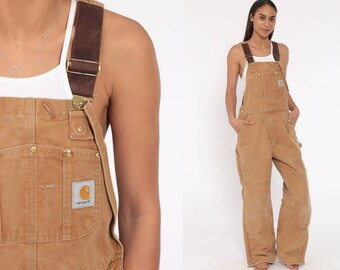 a36bcc6e09 90s Carhartt Overalls Workwear Coveralls Baggy Pants Cargo Light Brown  Suspender Pants Long Work Wear Bib Streetwear Small 34