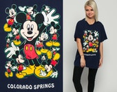 Mickey Mouse TShirt 80s Disney Shirt COLORADO SPRINGS Grunge Graphic Cartoon T Shirt Disney World Vintage Retro Tee 1980s Large
