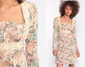 Floral Babydoll Dress 70s Mini Puff Sleeve Bohemian Empire Waist 1970s Boho Peasant Vintage Long Sleeve Small