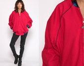 80s Bomber Jacket Aztec TRIBAL Print Red Boho Baseball Coat Southwestern Vintage Cotton Raglan Sleeve Retro Large
