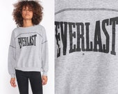 Everlast Sweatshirt 90s Crewneck Pullover Jumper Grunge Long Sleeve Shirt Slouchy Sports Vintage Athletic Grey 1990s Medium