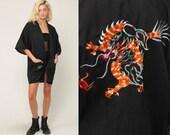 Black Robe DRAGON Robe Asian Kimono Robe Jacket Dressing Gown Bohemian Wrap Vintage Boho Hippie Medium Large