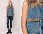 Denim Vest 90s GUESS Jeans Vest LEATHER TRIM Cargo Vest Georges Marciano Blue Sleeveless Jean Jacket Biker 80s Vintage Snap Up Small