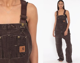158bcff7ab 90s CARHARTT Overalls Baggy Pants Streetwear Cargo Dungarees Brown  Coveralls Workwear Long Wide Leg Jeans Work Vintage Medium Large