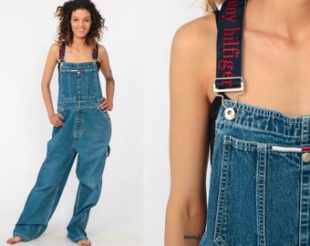 6f485325d Tommy Hilfiger Overalls Pants 90s Streetwear Denim SPELLOUT Pants Bib Baggy  Spell Out Long Jean Pants 1990s Hipster Vintage Dungarees Medium