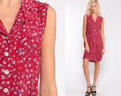 90s Floral Dress Red Grunge Boho Mini BUTTON UP Sheath 1990s Bohemian Vintage Summer Sleeveless Sundress Large