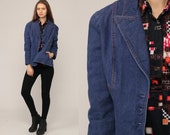 Denim Blazer Jacket 70s Jean Jacket Blue Boho Vintage Bohemian 1970s Button Up Hipster Women Coat Retro Collared Medium