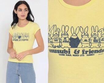 4df33311 Musubi TShirt Graphic Shirt Baby Tee 70s Shirt Rabbit Shirt Yellow Retro T  Shirt Hawaii Tshirt Vintage Girly Tee 80s Small