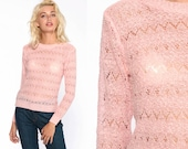 Sheer Pink Sweater Pastel Sweater 80s Sweater Knit Pullover Retro Kawaii 70s Baby Pink Vintage Pointelle Sweater Extra Small xs