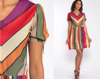 9784c04a67a4 70s Rainbow Striped Mini Dress -- 70s Puff Sleeve Casual Dress Boho KEYHOLE  SLEEVE Vintage Poly 1970s Festival Bohemian Retro Small Medium