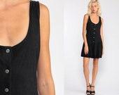Black Romper Dress Button Up Cotton Playsuit Wide Leg Sundress Plain 80s Boho Sun Mini Drop Waist Crochet Boho Sleeveless Medium