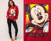 Mickey Mouse Sweatshirt Disney Sweater 80s Graphic Grunge Shirt Cartoon 90s Vintage Hipster Red Kawaii Retro Large