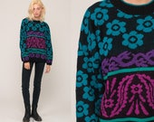 90s Sweater Floral Print Slouchy Knit Striped Pullover Neon Pullover 80s Retro Vintage Hipster Purple Black Blue Extra Large xl