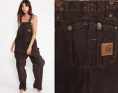 Carhartt Overalls Baggy Pants GRUNGE Cargo Dungarees Brown Coveralls Workwear Bib Pants Long Wide Leg Jeans Work Vintage small medium