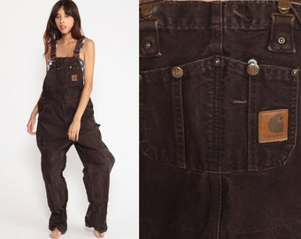 82d60a201b Carhartt Overalls Baggy Pants GRUNGE Cargo Dungarees Brown Coveralls  Workwear Bib Pants Long Wide Leg Jeans Work Vintage small medium