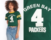 Green Bay Packers Shirt Football Jersey 90s Tshirt NFL Crop Top Ringer Tee Throwback Jersey Vintage Wisconsin Sports Extra Small xs